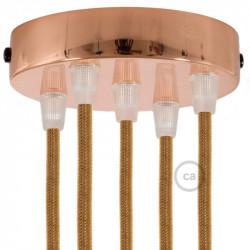 Metalen plafondkap geschikt voor 5 lampen - koper