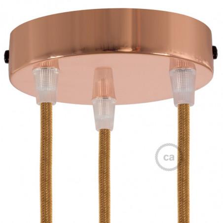 Metalen plafondkap geschikt voor 3 lampen - koper