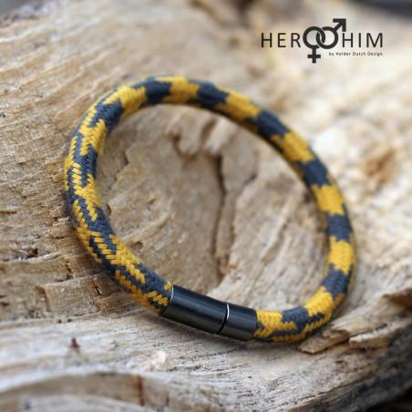 Armband van Textielsnoer - Mustard grey