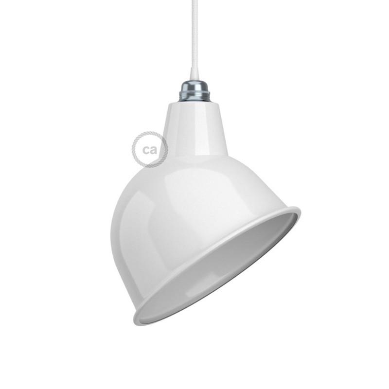 Broadway lampenkap E27 metaal, wit gepolijst met wit gepolijst binnenwerk