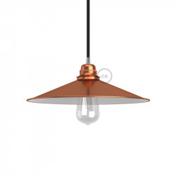 Swing kegelvormige lampenkap - E27 metaal 30 cm., koperen afwerking met wit gepolijst binnenwerk