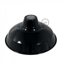 Bistrot lampenkap - E27 metaal 30 cm diameter, zwart gepolijst met wit gepolijst binnenwerk