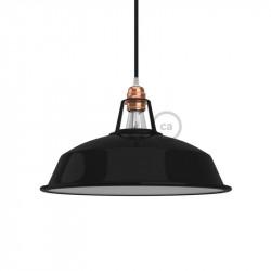 Harbour lampenkap - E27 metaal 30 cm diameter, zwart gepolijst met wit gepolijst binnenwerk