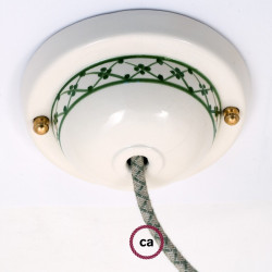 Keramiek plafondplaat van 130 mm met ophangbeugel - handgeschilderd groen Dec.82 Green ,100% handgemaakt in Italië