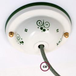 Keramiek plafondplaat van 130 mm met ophangbeugel - handgeschilderd groen Dec.81 Green ,100% handgemaakt in Italië