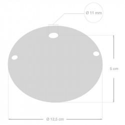 Keramiek plafondplaat van 130 mm met ophangbeugel - handgeschilderd bruin Dec.81 ,100% handgemaakt in Italië