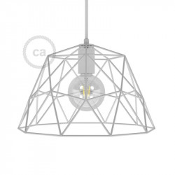 Dome XL draad frame lampenkap - wit met E27 fitting
