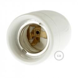 Witte porseleinen E27 fitting met trekontlaster