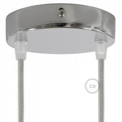 Metalen plafondkap geschikt voor 2 lampen - chrome
