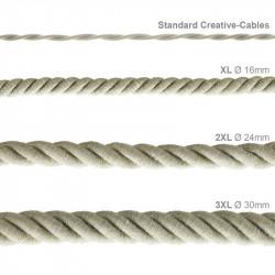 Electrische 3XL touwkabel, 3 x 0,75 mm. Binnenkabels bedekt met textiel en natuurlijk linnen. Diameter 30 mm.