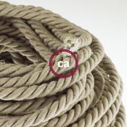 Electrische XL touwkabel, 3 x 0,75 mm. Binnenkabels bedekt met textiel en natuurlijk linnen. Diameter 16 mm.