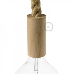 Natuurlijk houten cylinder fittinghouder + E27 fitting voor 2XL electrische scheepstouw kabel