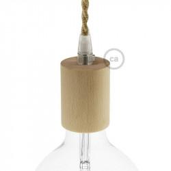 Natuurlijk houten cylinder fittinghouder + E27 fitting voor strijkijzersnoer