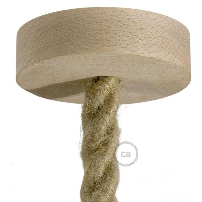 Natuurlijk houten cylinder plafondkap voor strijkijzersnoer