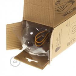 LED lichtbron transparant - Globe G95 gebogen dubbele lus kooldraad - 5W E27 dimbaar 2200K