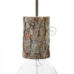 Houten schors E27 lamphouder set met kabelhouder, hoogte 11 cm