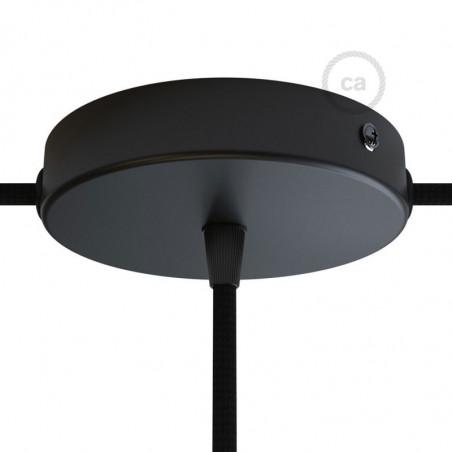 Metalen plafondkap 2 zijgaten + 1 centraal gat  - zwart