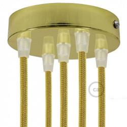 Metalen plafondkap geschikt voor 5 lampen - Messing