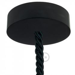 Zwart houten cylinder plafondkap voor XL electrische scheepstouw kabel