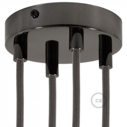 Parelmoer plafondkap, 4-gaats, 120 mm. met cylindrische trekontlaster van parelmoer effect metaal