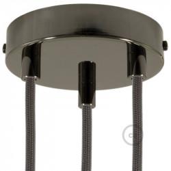 Parelmoer plafondkap, 3-gaats, 120 mm. met cylindrische trekontlaster van parelmoer effect metaal