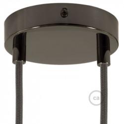 Parelmoer plafondkap, 2-gaats, 120 mm. met cylindrische trekontlaster van parelmoer effect metaal