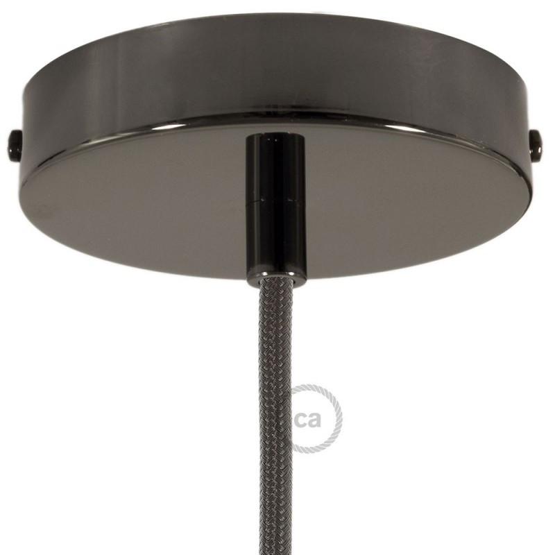 Parelmoer plafondkap, 120 mm. met cylindrische trekontlaster van parelmoer effect metaal