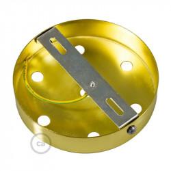 Messing plafondkap, 7-gaats, 120 mm. met cylindrische trekontlaster van messing effect metaal.