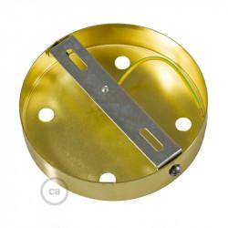 Messing plafondkap, 5-gaats, 120 mm. met cylindrische trekontlaster van messing effect metaal.