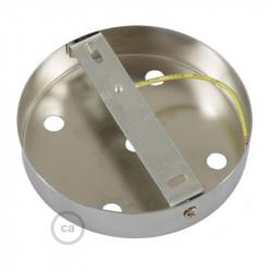 Chromen plafondkap, 5-gaats, 120 mm. met cylindrische trekontlaster van verchroomd metaal.