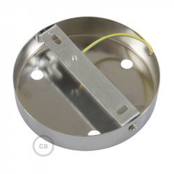 Chromen plafondkap, 3-gaats, 120 mm. met cylindrische trekontlaster van verchroomd metaal.
