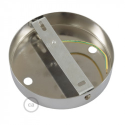 Chromen plafondkap, 2-gaats, 120 mm. met cylindrische trekontlaster van verchroomd metaal.