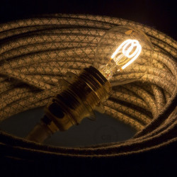 LED Transparante gloeilamp - Bol G45 Gebogen spiraal Filament - 3W E14 Dimbaar 2200K