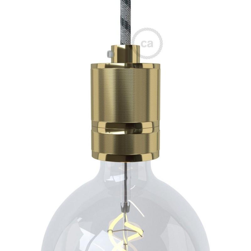 Lamphouderset E27 in gefreesd aluminium, messing afwerking, voorzien van metalen trekontlastingsklem
