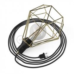 Tafel lamp, met messing metalen Diamond E27 kooilampkap met 2-polige stekker