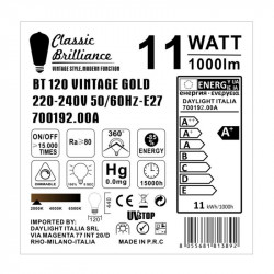 XXL LED Golden Light Bulb - Pulsvormige BT120 - 11W E27 Dimbaar 2000K