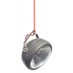 Grijze hanglamp van Het Lichtlab met strijkijzersnoer.