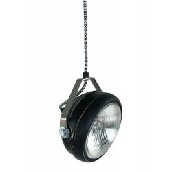 Geschuurde zwarte hanglamp van Het Lichtlab met strijkijzersnoer.