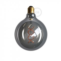 LED lichtbron Smoky - Globe G125 gebogen spiraal kooldraad - 5W E27 dimbaar 2200K