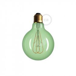 LED lichtbron groen - Globe G95 gebogen dubbele lus kooldraad - 5W E27 dimbaar 2200K
