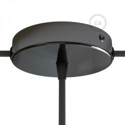 Parelmoer plafondkap 2 zijgaten + 1 centraal gat  - zwart