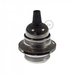 E27 Metalen fitting zwart, 2 ringen