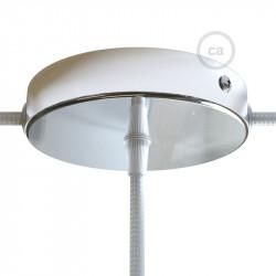 Metalen plafondkap 2 zijgaten + 1 centraal gat  - chrome