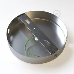 Metalen plafondkap 2 zijgaten + 1 centraal gat  - chrome met cylindrische trekontlaster