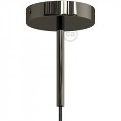 Zwarte parelmoer afwerking metalen ronde 15 cm trekontlasting klem voorzien van schroefdraad buis, moer en ring