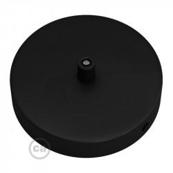 Zwarte plafondkap, 120 mm. met cylindrische trekontlaster van zwart metaal.