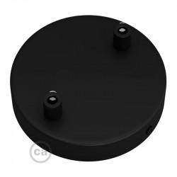 Zwarte plafondkap, 2-gaats, 120 mm. met cylindrische trekontlaster van zwart metaal
