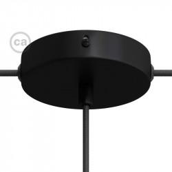 Metalen plafondkap 2 zijgaten + 1 centraal gat  - zwart met metalen cylindrische trekontlaster