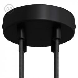 Zwarte plafondkap, 4-gaats, 120 mm. met cylindrische trekontlaster van zwart metaal.