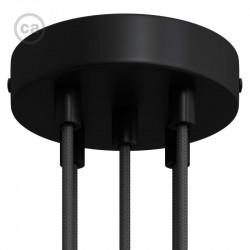Zwarte plafondkap, 5-gaats, 120 mm. met cylindrische trekontlaster van zwart metaal.